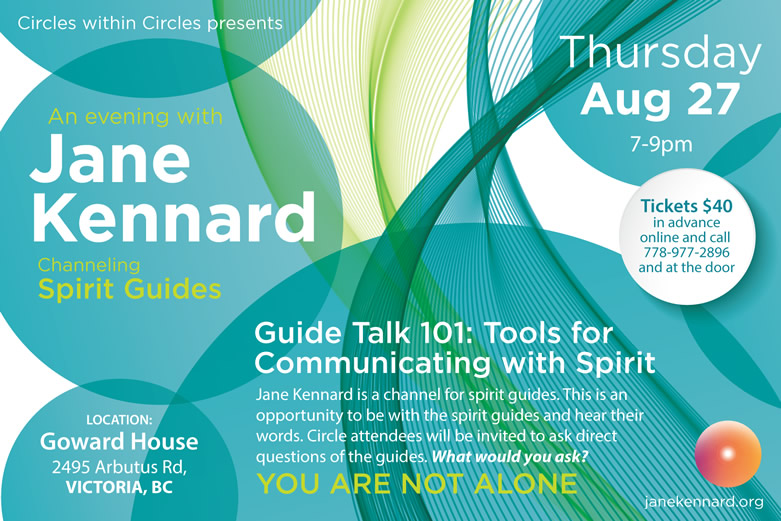 Join us in Victoria August 27th for an evening with Jane Kennard, Circles within Circles